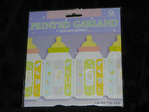 Baby Shower Decorations TWO PACKS Boy Girl Newborn Bottles Garland 8 Feet