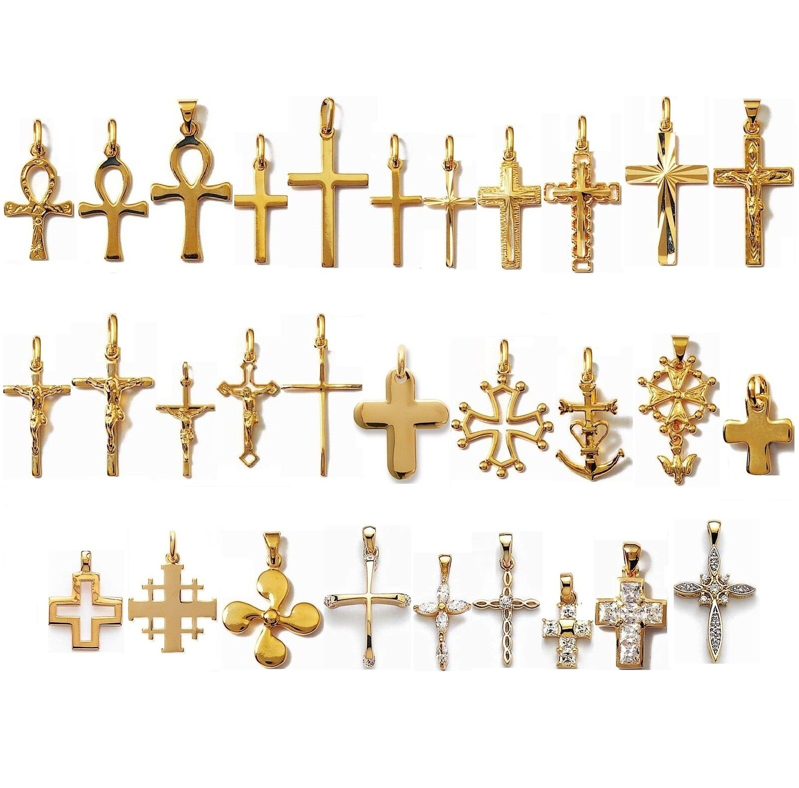 CROSS PENDANT gold plated GUARANTEED NEW 30 Models of your choice