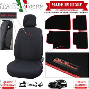 Coppia Coprisedili Specifici Alfa Romeo Giulietta + Tappeti Moquette Bordo Rosso Sans Retour
