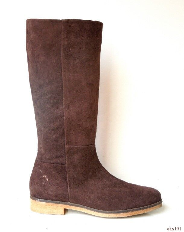 new $575 ALBERTO brown FERMANI dark brown ALBERTO suede zipper BOOTS Italy 40 US 10 da9403