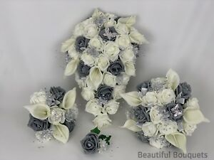 Flower Girl wand peonies Bridesmaid Wedding Flowers Grey Rose bouquet  Bride