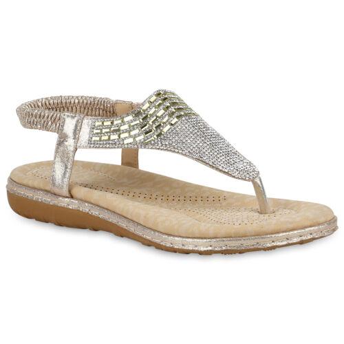 Damen Sandaletten Zehentrenner Strass Glitzer Keilabsatz 821047 Schuhe