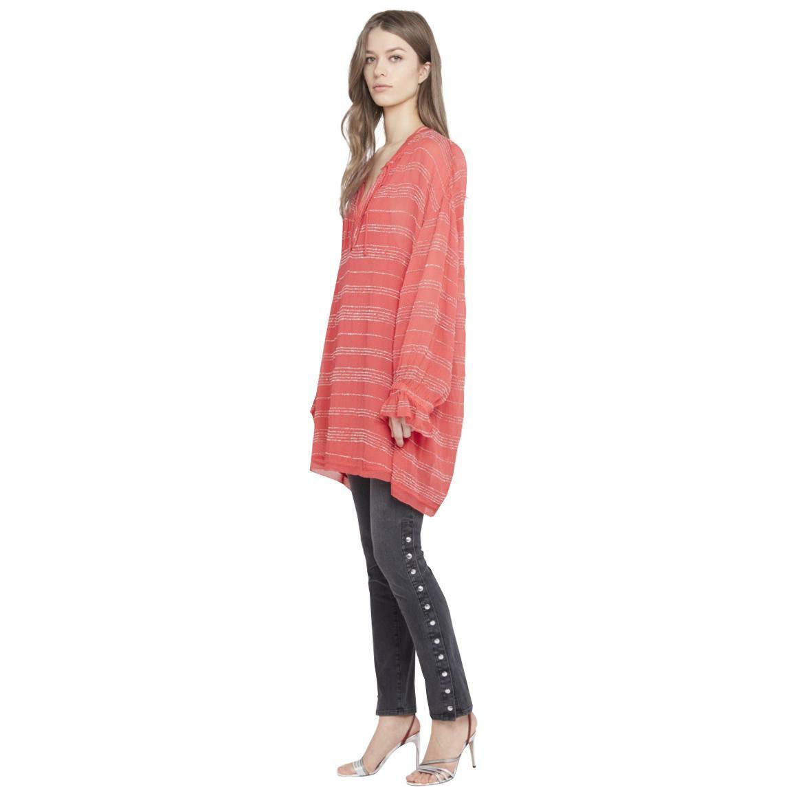 Iro 38 US6 M Coral Pink Metallic bluey Oversize Stretch Viscose Dress