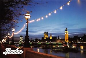 High-Quality-Glossy-London-Postcard-Houses-of-Parliament-from-Thames-Embankment