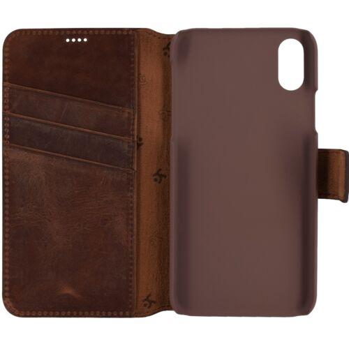 IPhone XS Funda Book Style cuero bolso CARTERA CASE COVER ETUI en vintage Coffee