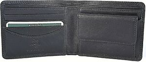 VISCONTI-QUALITY-BLACK-LEATHER-BIFOLD-MENS-WALLET-amp-COIN-PURSE-HT7-Best-Seller