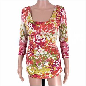 Cabi-Women-039-s-Cream-Multi-Color-Floral-Ruched-Knit-Long-Sleeve-Top-Size-S-EUC