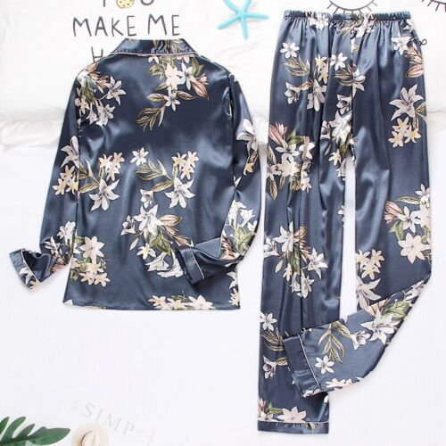 Details about  /Womens Silk Satin Pajamas Set Long Sleeve Sleepwear Button-Down Homewear Pjs New