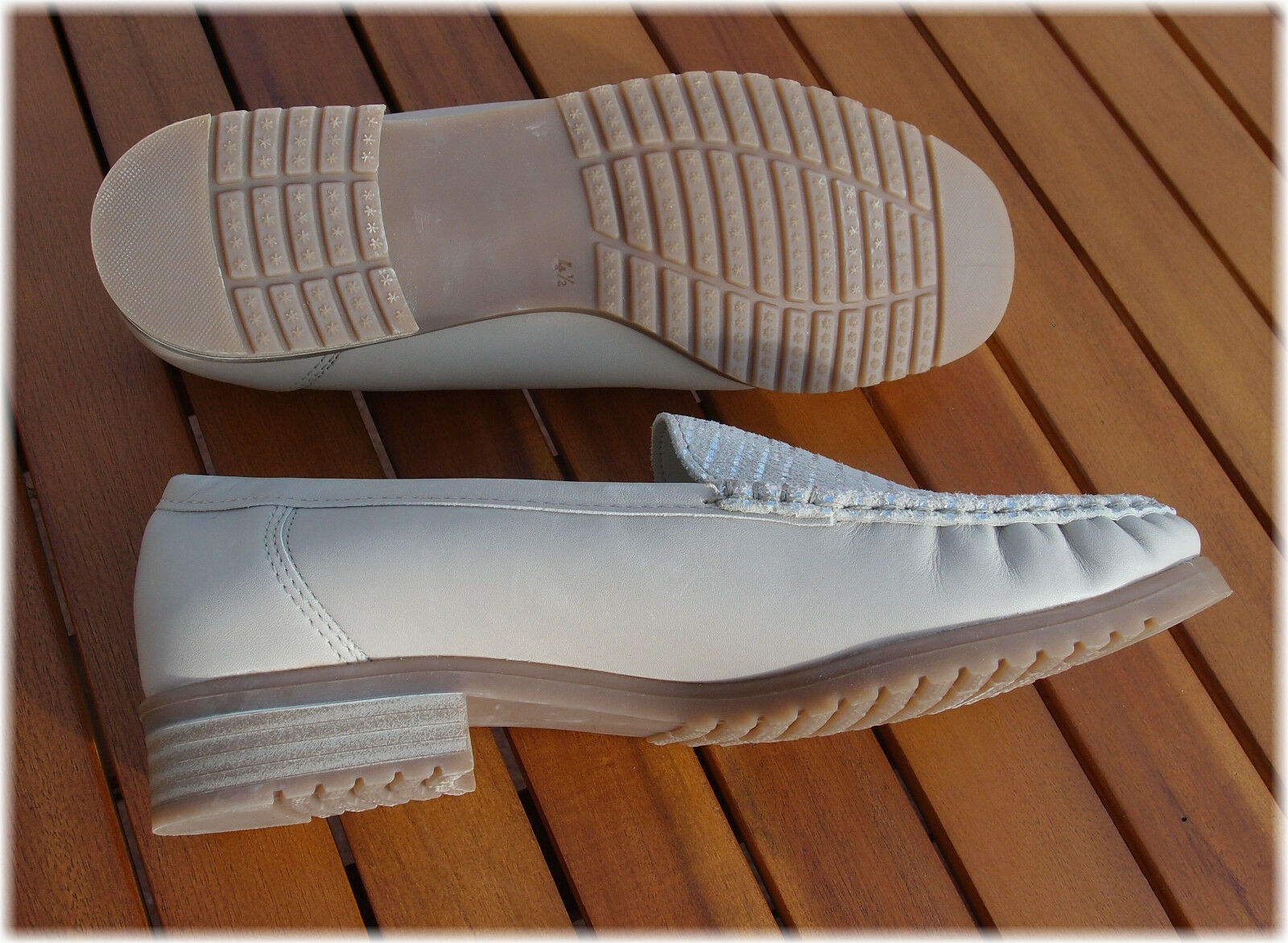 separation shoes 2f848 5fd6c Jenny by ARA QVC Weite G Slipper Schuhe (4 taupe Silber Gr ...