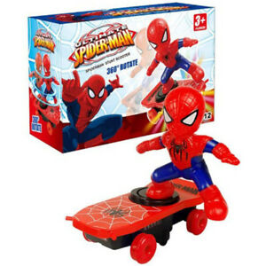 Spiderman Electronic Stunt Scooter Skateboard 360° Rotation Anime Sound Kids Toy