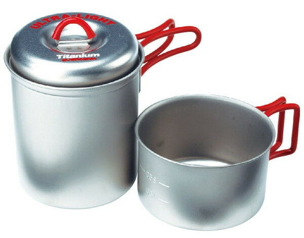 Ultra Light Titanium Solo Cooker Cook Set ECA278R EVERNEW ROT Camping New Japan