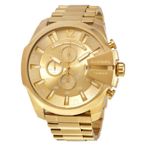 Diesel-DZ4360-Gold-Tone-Stainless-Steel-Chronograph-Mega-Chief-Men-039-s-Wrist-Watch