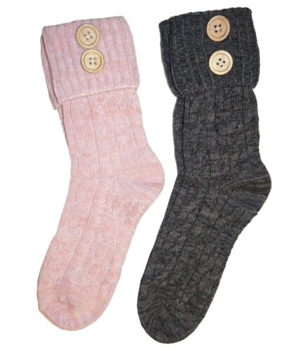 cotton rich Ladies crochet socks with buttons bright warm colours for winter