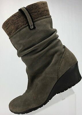 812136026af Merrell Wedge Boots- Lily Gret Slouch Espresso Suede Shoes Women s 9.5 Taupe