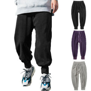 Mens-Solid-Gym-Joggers-Trousers-Casual-Baggy-Tracksuit-Drawstring-Long-Pants