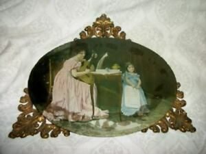 VICTORIAN-REVERSE-GLASS-MUSIC-MOTHER-DAUGHTER-PHOTO-TABLE-FRAME-TRAY-BRASS