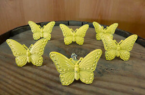 6 YELLOW VINTAGE-STYLE BUTTERFLY DRAWER PULLS HANDLES KNOBS ...