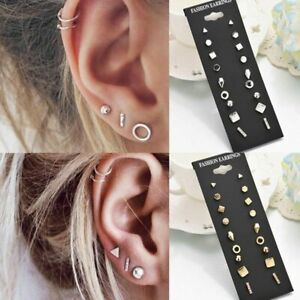 9Pairs-Set-Ear-Stud-Earrings-Women-Ladies-Round-Geometric-Piercing-Jewellery-New