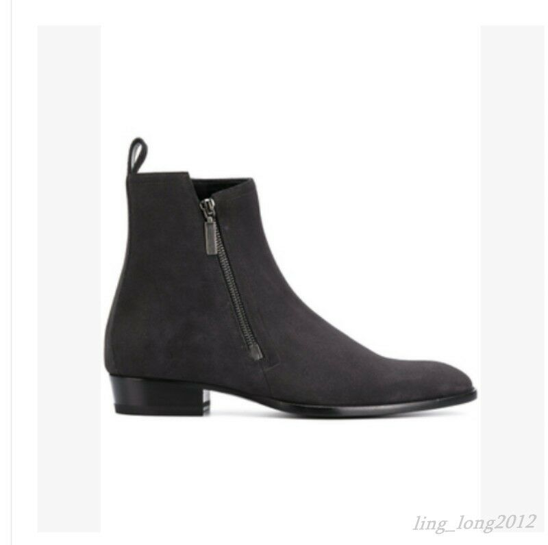 Mens Mens Mens Side Zipper Chelsea Boots Real Suede Leather Ankle Boots Winter Warm shoes 014898
