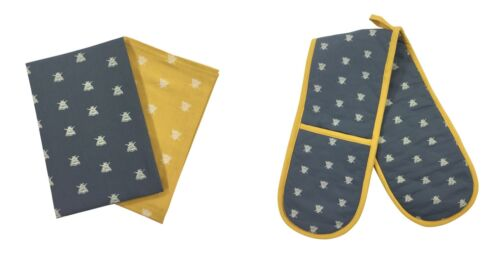BEE SILHOUETTES GREY YELLOW COTTON DOUBLE OVEN GLOVES /& PACK OF 2 TEA TOWELS