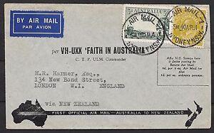 Australia covers 1934 1st Flight cover Faith in Australia to London