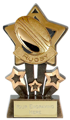 RUGBY Star Trophy FREE ENGRAVING Gold Silver Bronze Personalised Union League