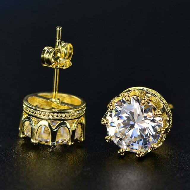 1.5 Ct Round Cut Moissanite Crown Stud Earrings 14K Yellow Gold Filled Jewelry