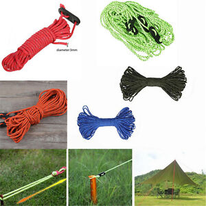 8 Pcs 4m Guy Rope Reflective Cord Lines With Runners Tent Camping Guide UK