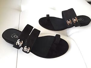 7985cb0a4f86b9 2017 CHANEL BLACK SUEDE LEATHER TOE-RING FLAT SANDALS WITH SILVER CC ...