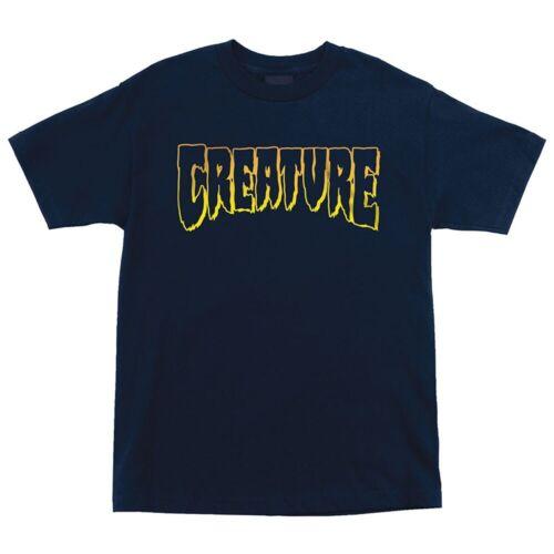 Creature LOGO OUTLINE Skateboard T Shirt NAVY XL