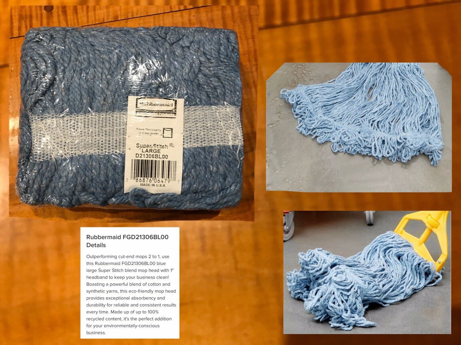 1 New Rubbermaid Commercial D21306 Super Stitch Mop Head Large Looped Blue Blend