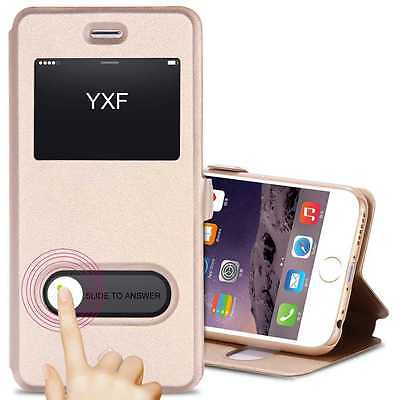View Window Smart Case Magnetic Leather Flip Stand Slim Cover for iPhone&Samsung