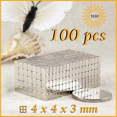 100 pcs Strong mini block 4 x 4 x 3 mm N50 Magnets NdFeB Cuboid neodymium Magnet