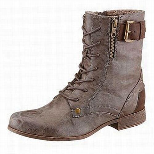 Arizona Biker Boot Stiefelette Stiefelette Boot gefüttert flach used Look braun - NEU 8b67f3