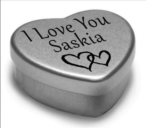 I Love You Saskia Mini Heart Tin Gift For I Heart Saskia With Chocolates