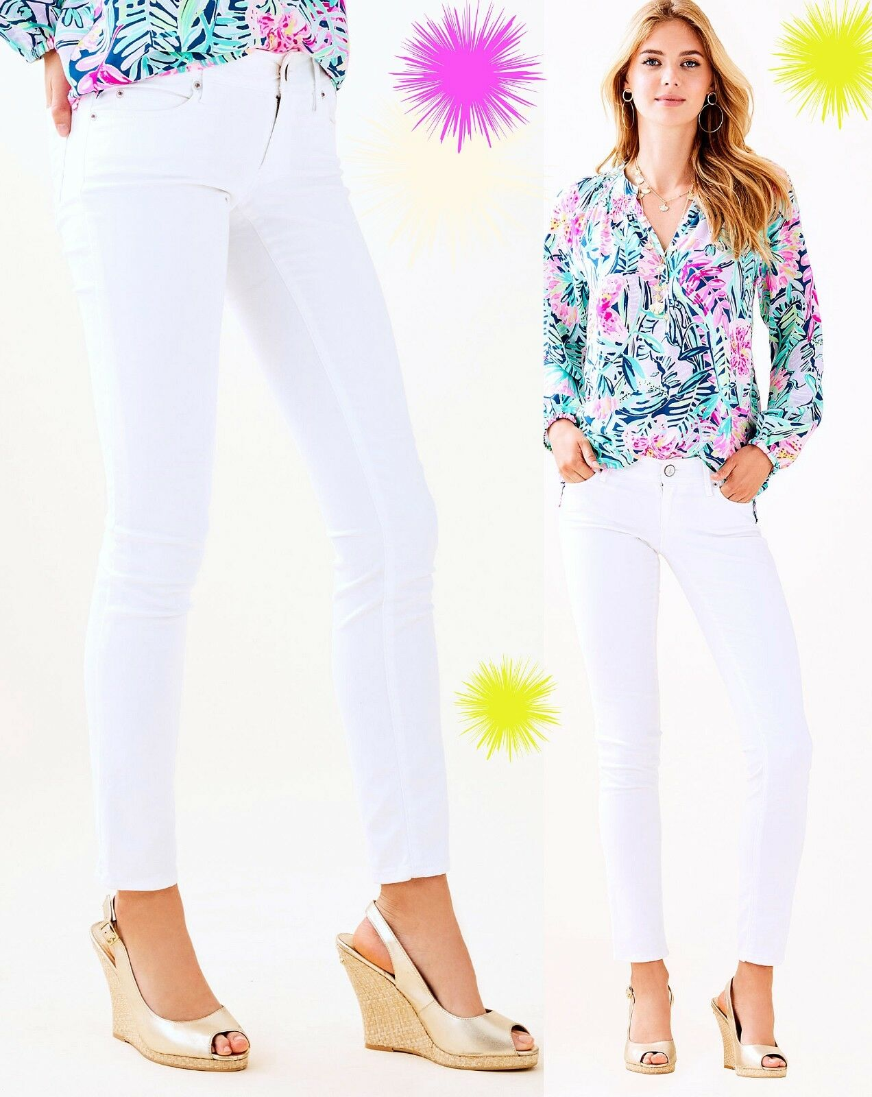 158 Lilly Pulitzer Worth Sateen Stretch Skinny White Jeans Pants