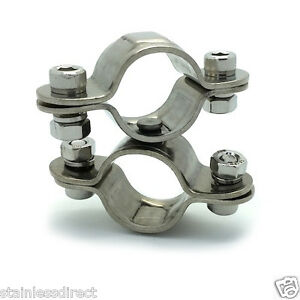 Stainless Steel Aisi 316 Swivel Double Clip Clamp 25mm