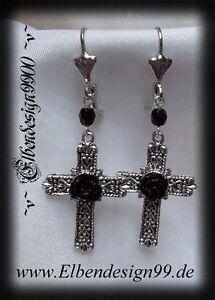 Gerade ^v^ohrschmuck*rose & Cross*larp*gothic*earrings*kreuz*cameo*resin Rose*black^v^