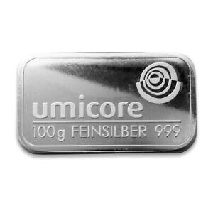 5 X 100g (Half a Kilo) Umicore  silver bars 999 fine silver SEALED
