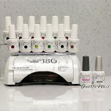 Harmony LED Light Lamp 18G + Set 12 Gelish Colours FREE Base + Top Coat Gel Kit