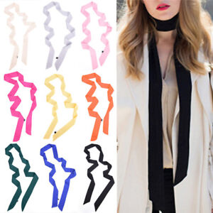 Narrow-Scarf-Women-Scarves-Solid-Color-Satin-Long-Scarf-Belt-Small-Scarf-Rr