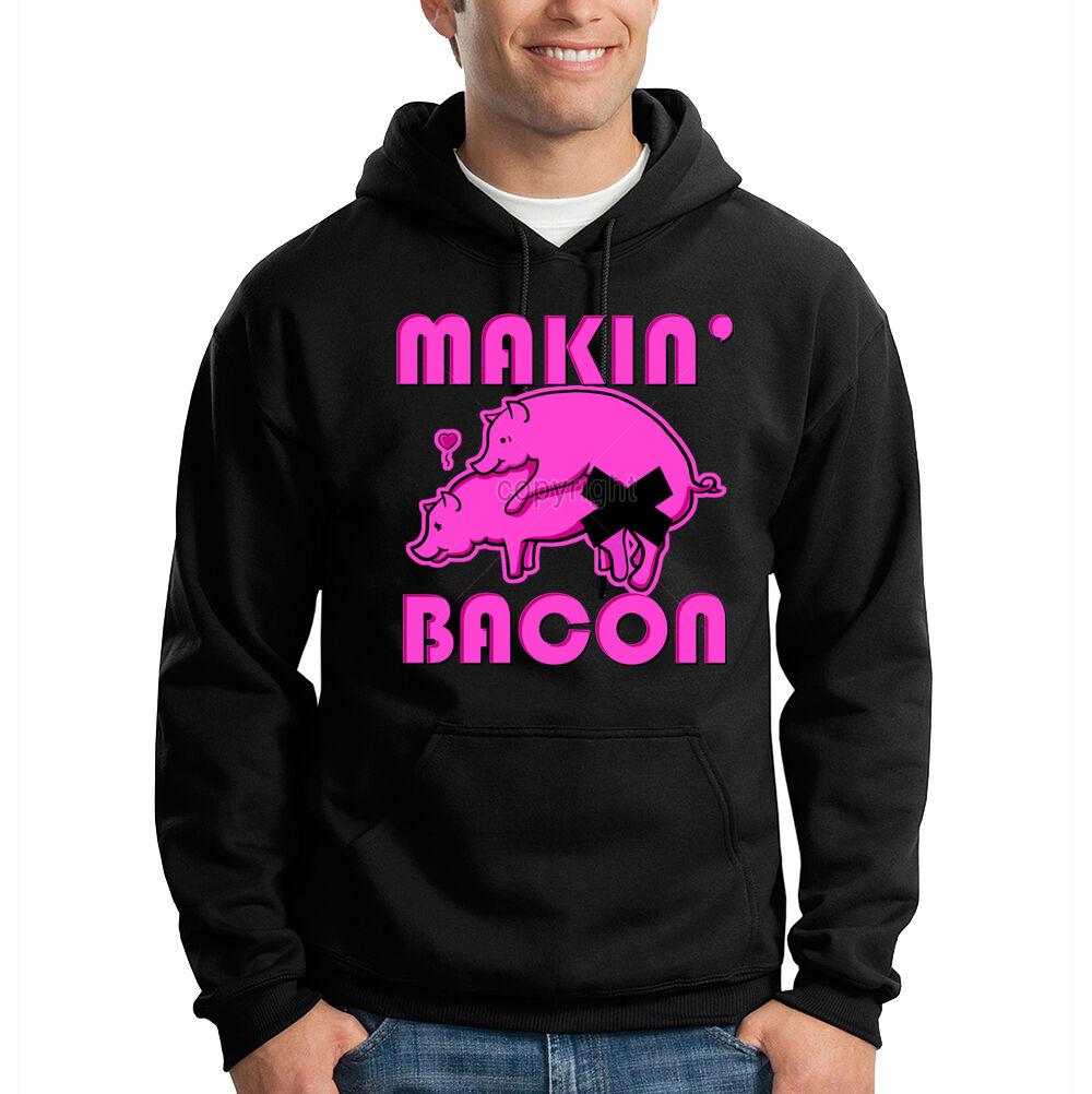 Making Bacon Two Pigs In Heat Neon Funny Hooded Sweatshirt Hoodie