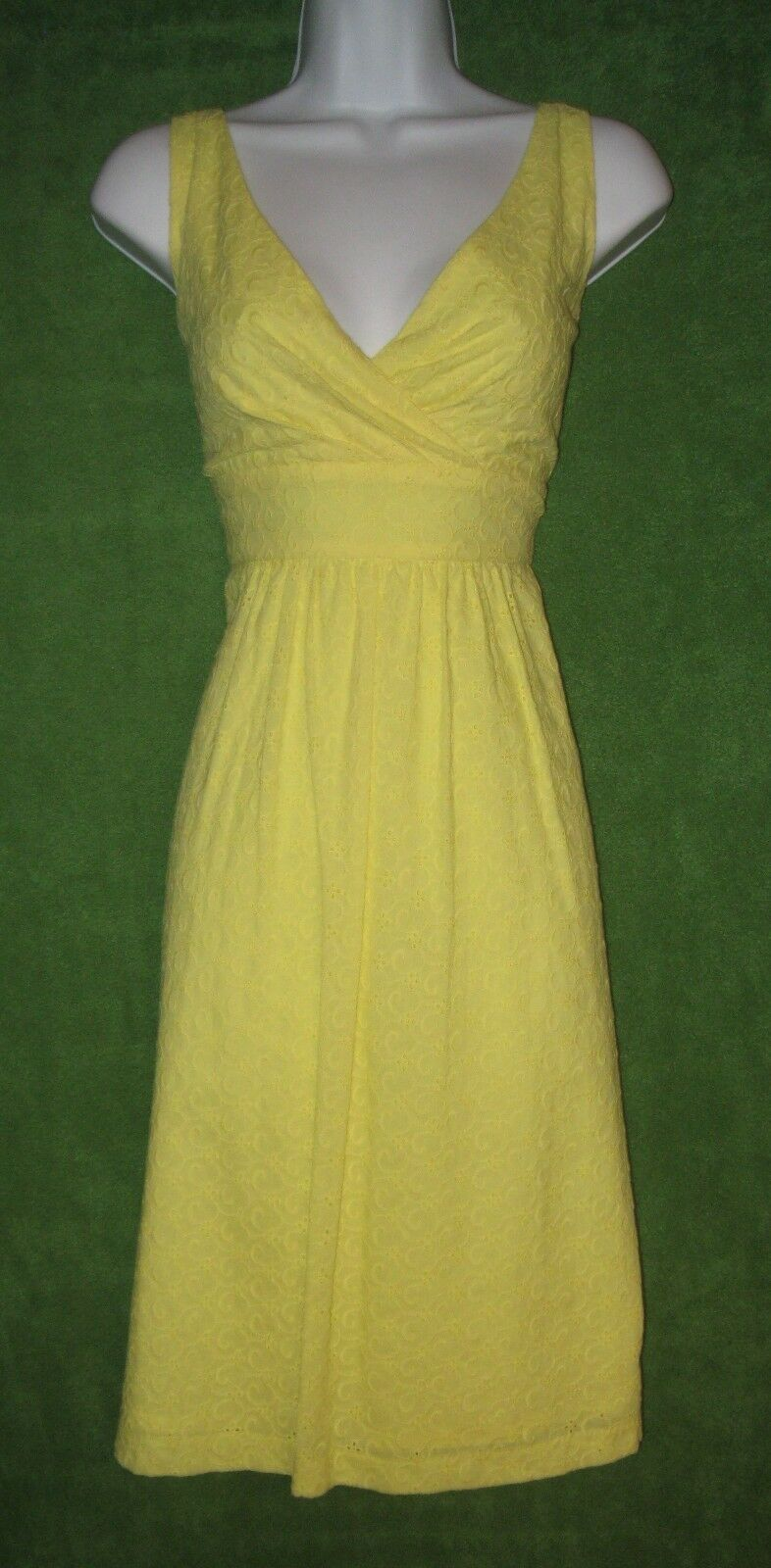 Chaps by Ralph Lauren Yellow Cotton Eyelet Empire Social Tea Dress 10
