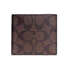 a51ece15 COACH Signature Double Billfold Men's Wallet Black Charcoal F75083