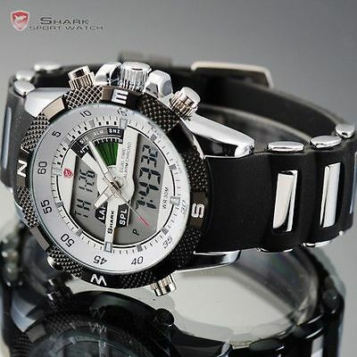 SHARK Mens White Army Dual Time Display Alarm Chronograph Sport Wrist Watch