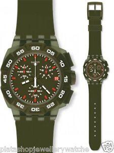 Swatch-Watch-SUIG401-Green-Hero-Date-Plastic-Gift-New-Original-Chronograph