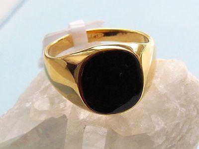 B-Ware Herren Ring Siegelring 750er Gold 18 Karat vergoldet schwarz R2227-2