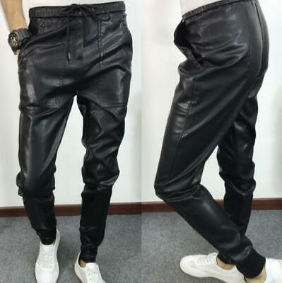 Men Black Pu Leather Straight Legs Long Pants Slim Casual Trousers Plu Size H556