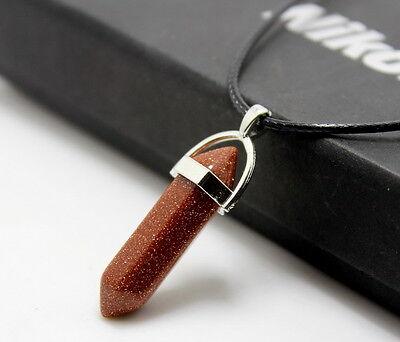 Natural Quartz Crystal Stone Point Chakra Healing Gemstone Pendant Necklace