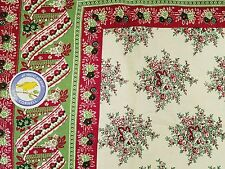NEW APRIL CORNELL CHRISTMAS HOLIDAY 40-YEAR CELEBRATION TABLECLOTH 54x54 COTTON